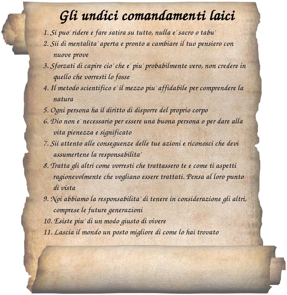 Gli undici comandamenti laici